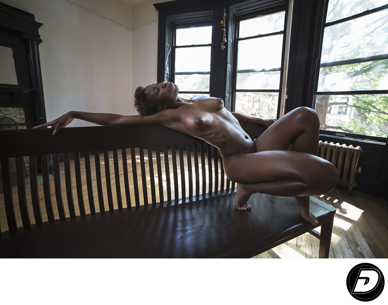 Harlem Brown Stone Bench Nude Photo