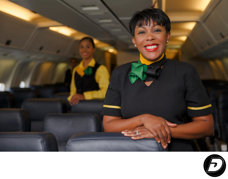 Flight Attendant Fly-Jamaica Plane