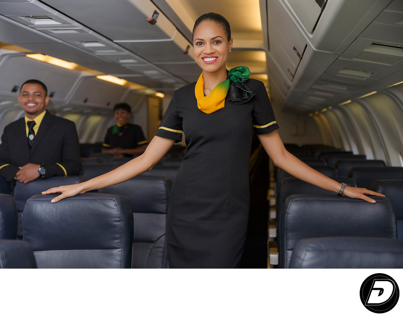Flight Attendant Portrait Fly Jamaica Airways Photo