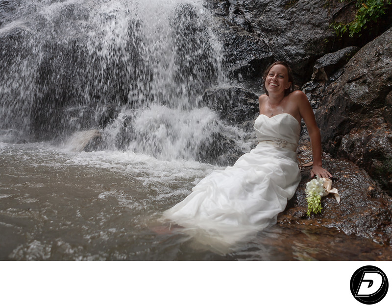 Saint Lucia Wedding Photographer Waterfall Bride