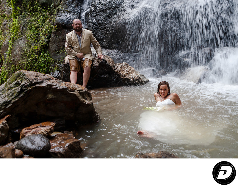 ST Lucia  Waterfall Couple Wedding Photographer