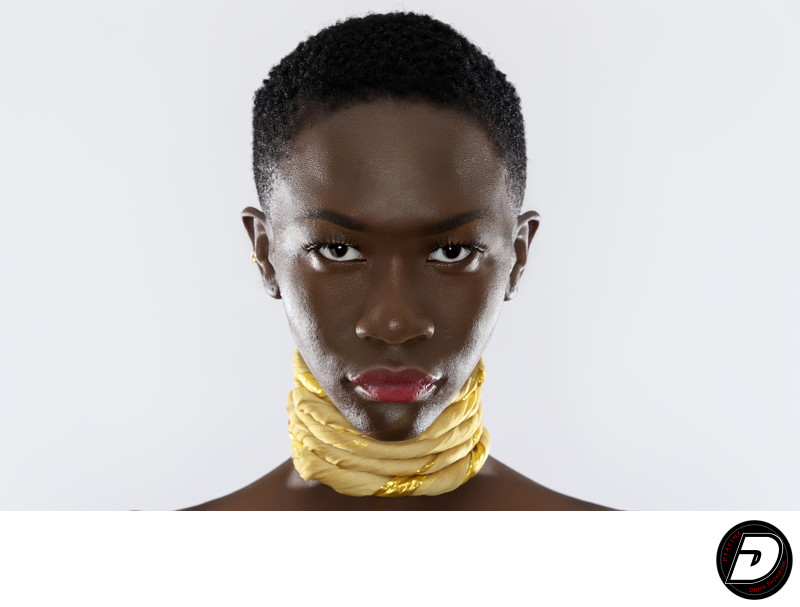 Gold Neck Wrap African Model South Sudan Photographer