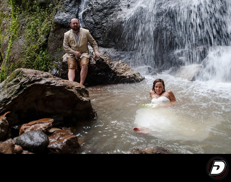 ST Lucia  Waterfall Wedding Couple