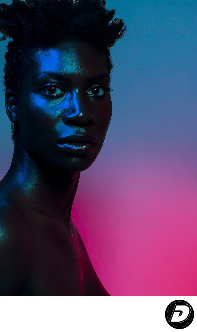 New York Beauty Photographer-Black Face Blue Gel