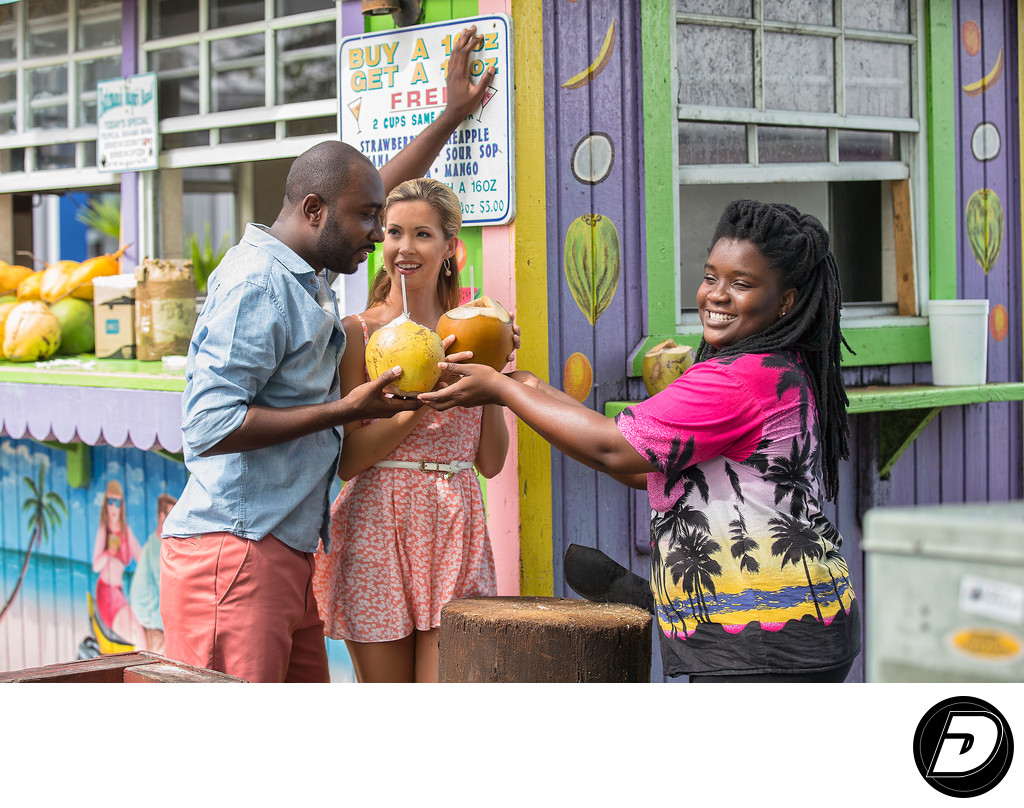 Port Lucaya Marketplace Coconut Water Couple Photograph