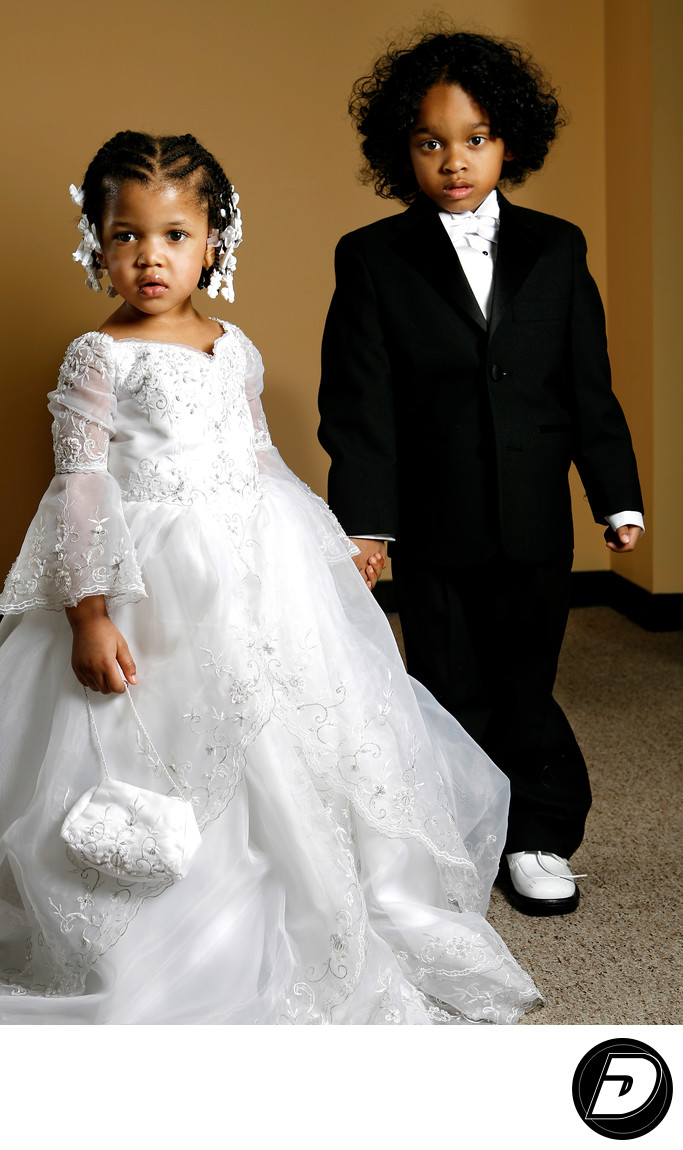 Children's Portrait Black Suit White Dress