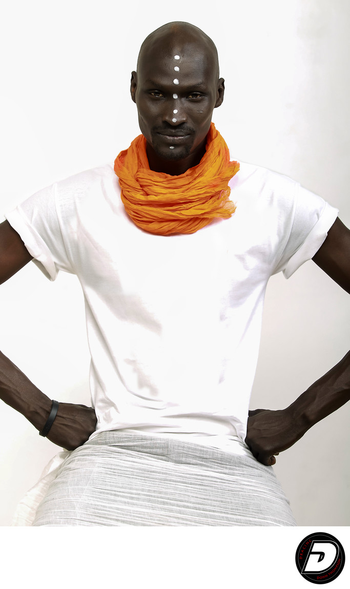Sudanese Man Orange Neck Wrap