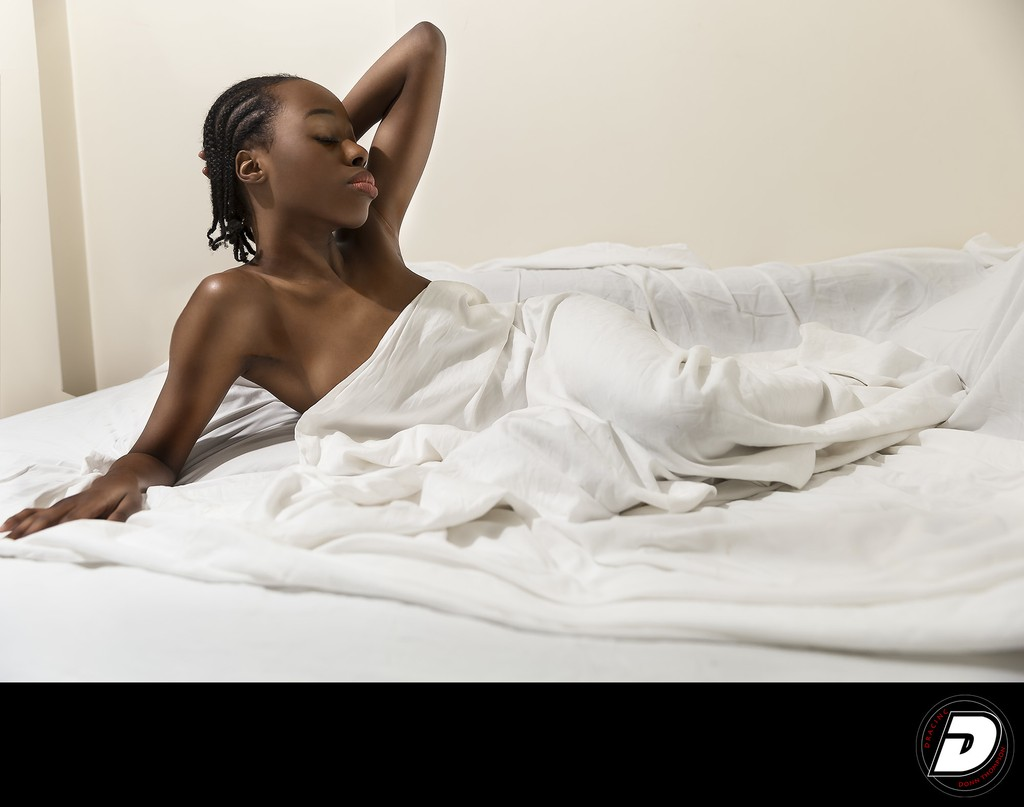 Harlem Boudoir Photo White Sheets
