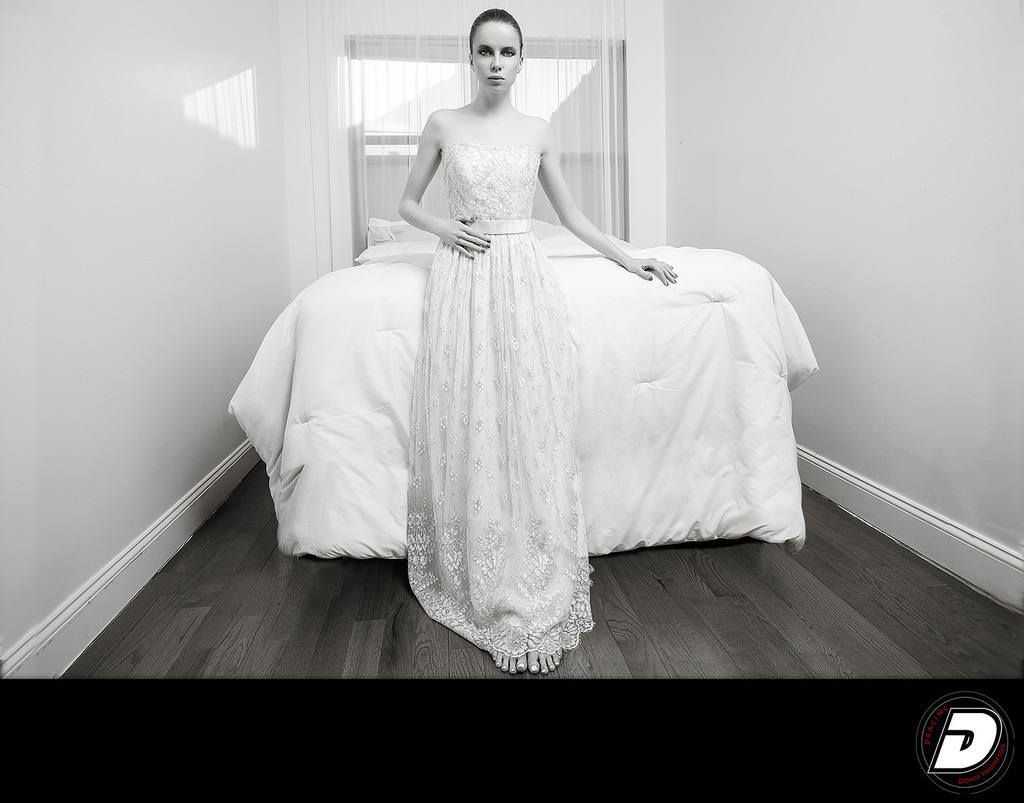 White Lace Dress Bedroom Black & White Photo