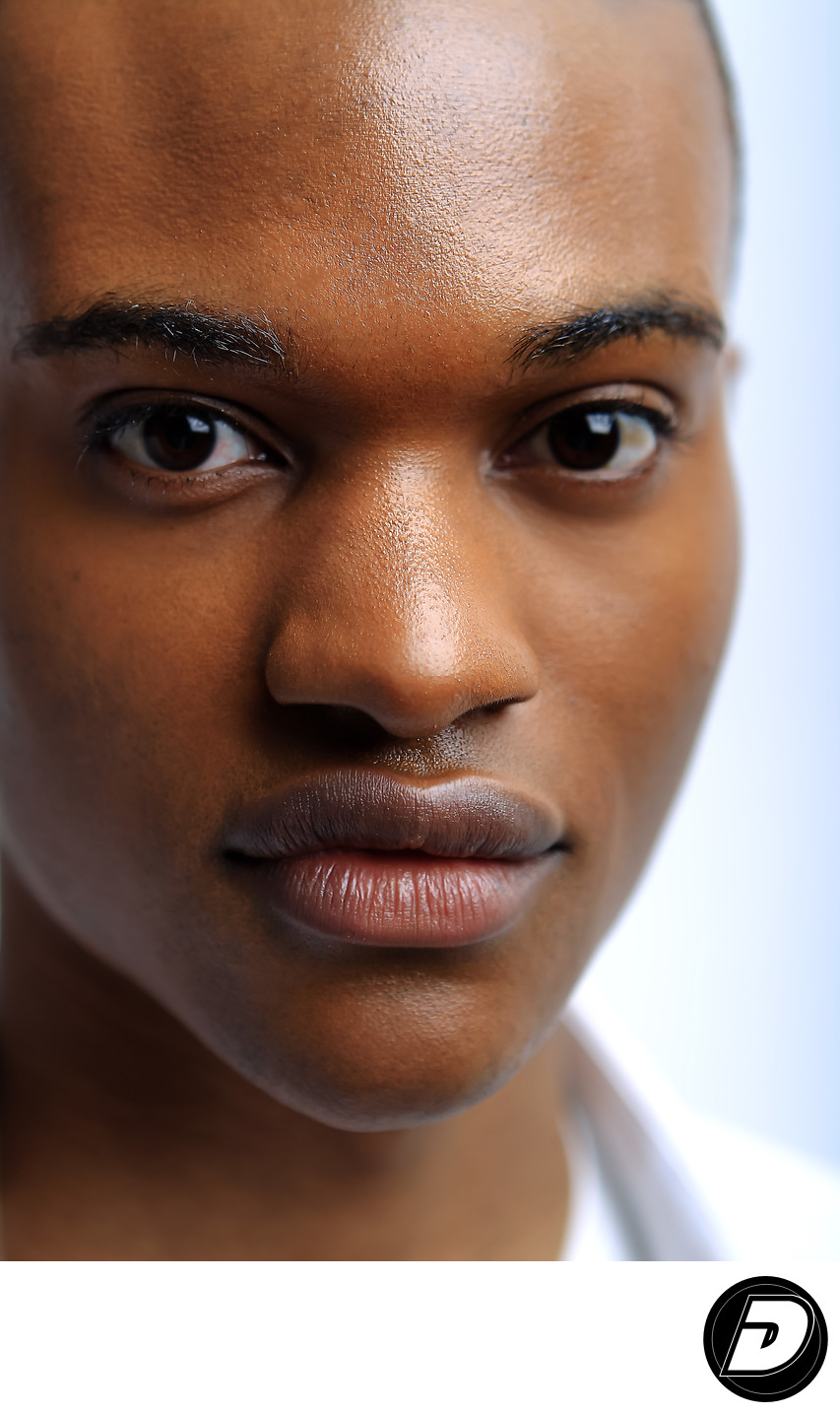 Black Brown Male Face Studio Portrait Photograph