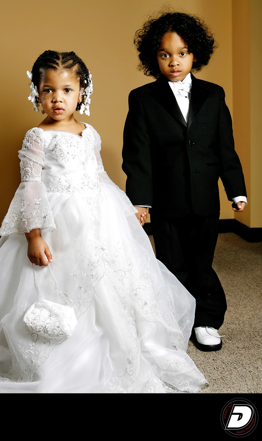 Children's Black Suit &  White Dress Wedding Fashion
