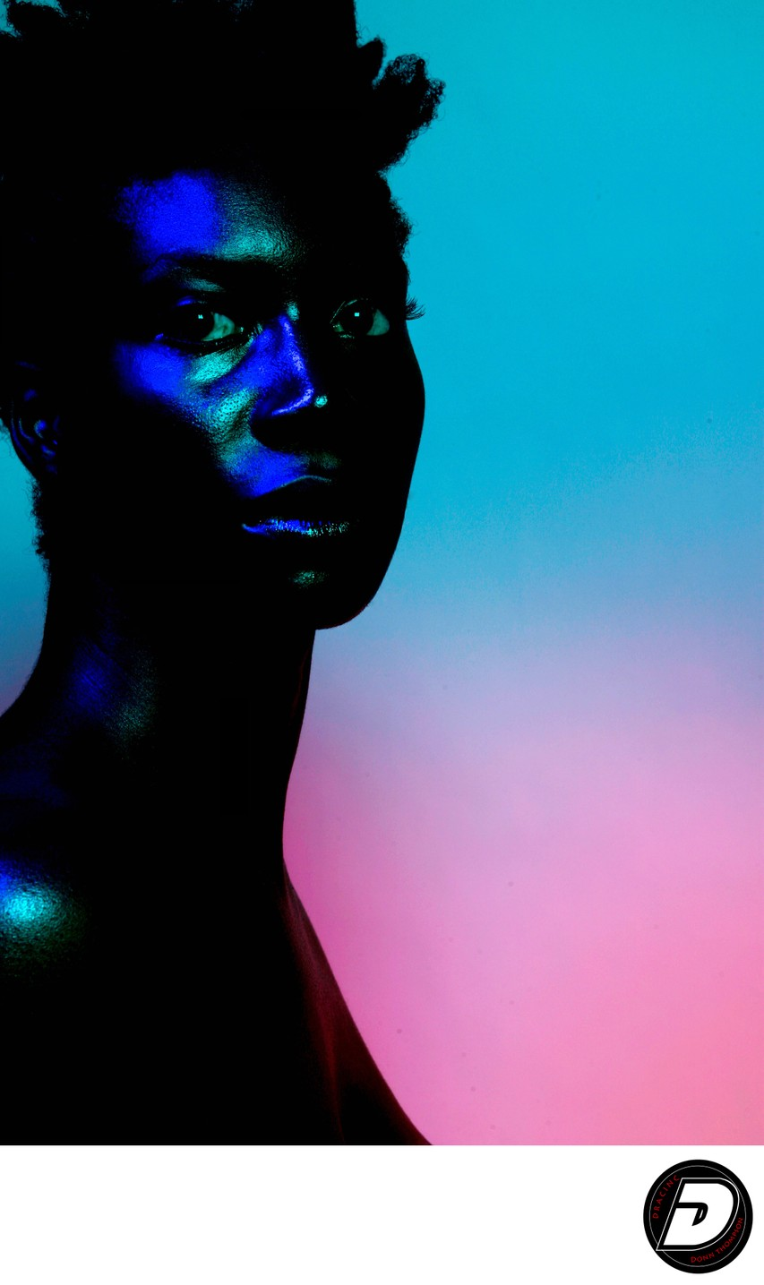 Harlem Photographer Artistic Nude Woman Long Blue Neck