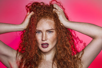 Red Head Freckled Face Make Up Beauty Photographer