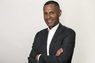 Black-Man Black Stripe Suit Studio Photo