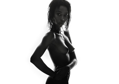 Wet Hair Semi Nude Black & White Photographer