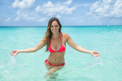 Bimini Red Swimsuit Woman Photographer