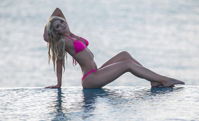 Resort World Bimini Swimsuit Model Infinity Pool