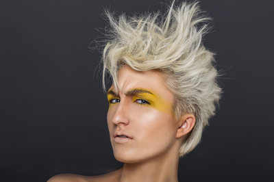 White Hair Yellow Eyes Makeup Woman Photo