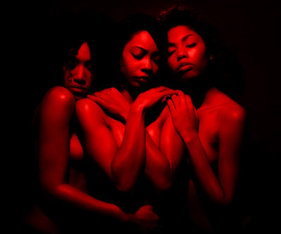 Three Semi Nude Red Women Portrait Photographer