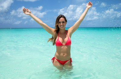 Bimini Bahamas Resort, Red Swimsuit