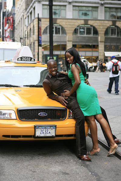 7th Ave Time Square Yellow Cab Engagement Photographer