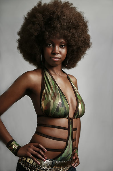 Afro Black Girl Rock Photo