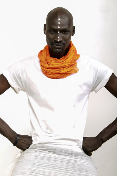 Sudanese Man Orange Neck Wrap Photo