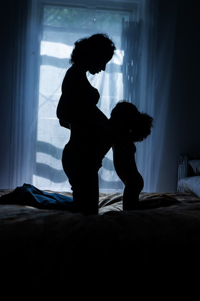 Harlem NYC Artistic Photographer Silhouette Woman & Daughter