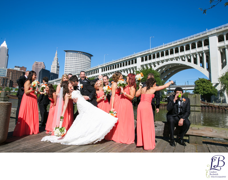 Wedding Party Photo Bridesmaid Scolds Drinking Groomsman