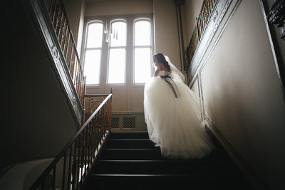 Cinderella bride in a tulle dress