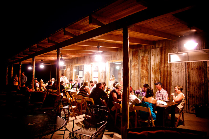Rustic Tin walls and cedar porch TX Hill Country Winery
