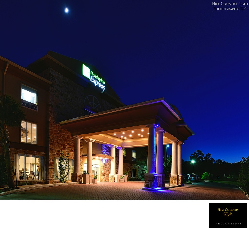 Moon over Port Cochere at Holiday Inn, Fredericksburg