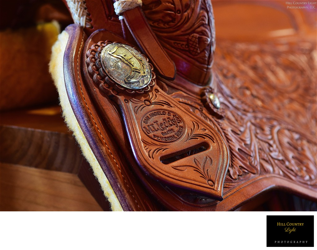 Hand tooled leather saddle in the Boot Ranch Golf Shop