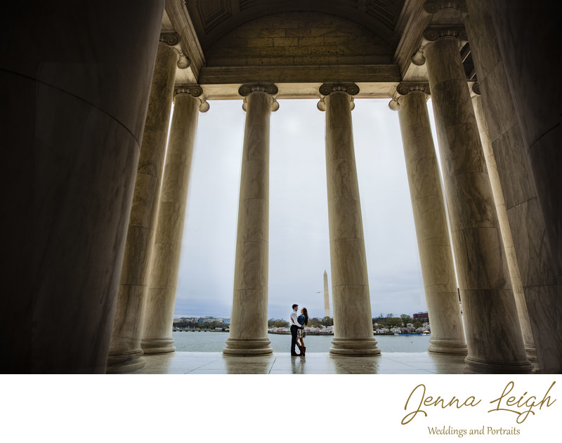 Couple embracing at the Jefferson Memorial