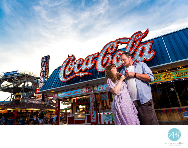 Wildwood Boardwalk Engagement Photos