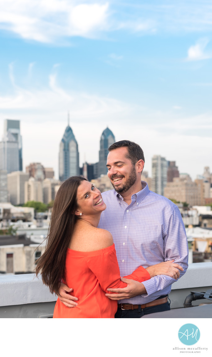 Philadelphia Rooftop Engagement Photos