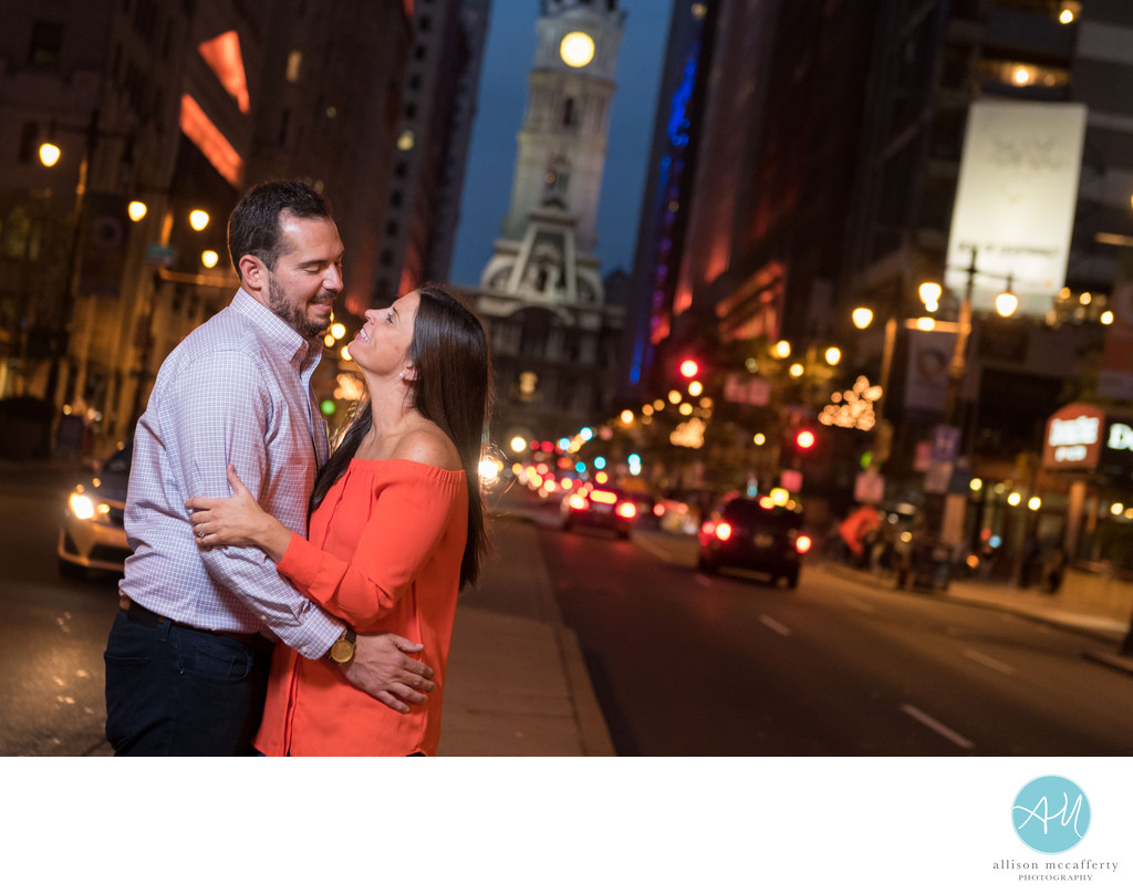 Broad Street Philadelphia Engagement Photos