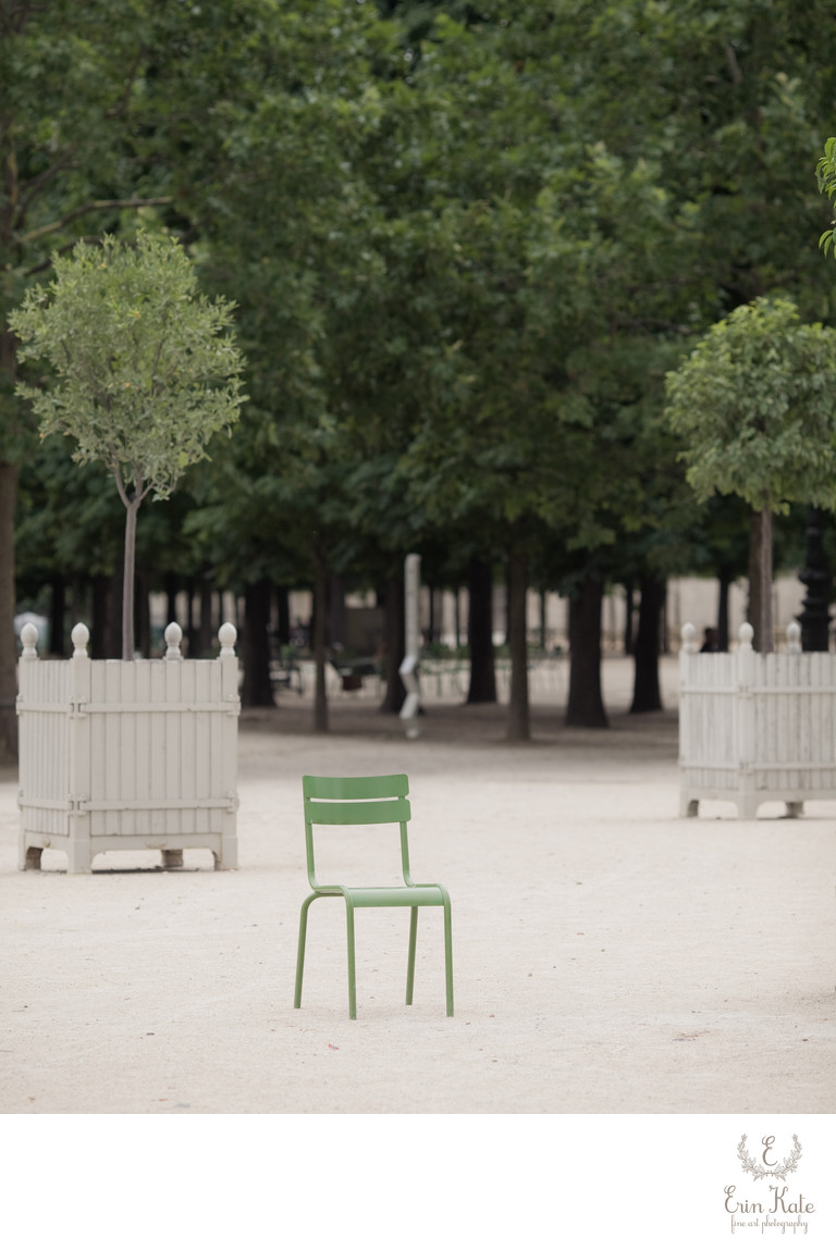 green chair Paris garden