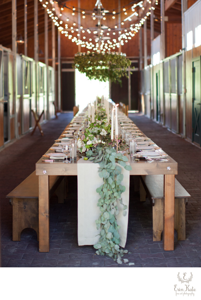long farmhouse table reception