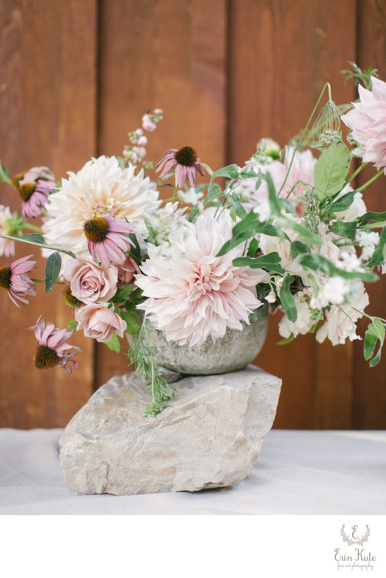 Pastel Pink flowers at Sundance Resort wedding.