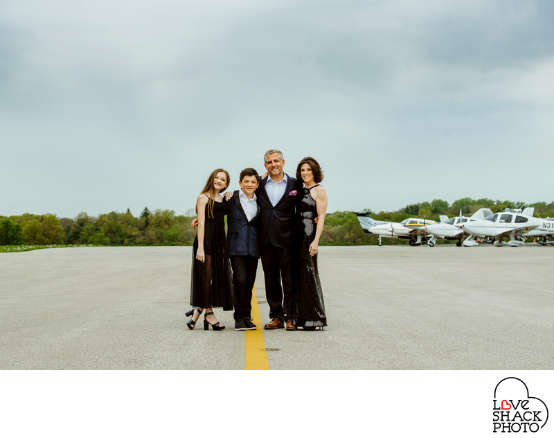 Family Bar Mitzvah Portrait at Wing's Field Airport