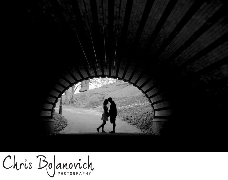 Central Park Engagement Black and White