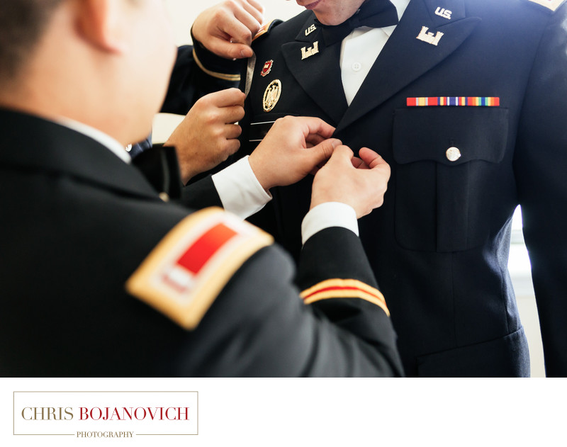 military wedding groom