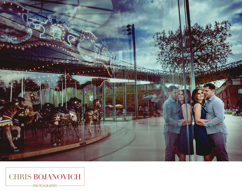 Janes Carousel Brooklyn NYC Engagement Photos