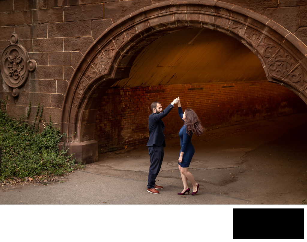 engagement photo in Central Park