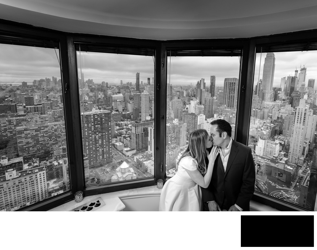 NYC engagement photo - skyline