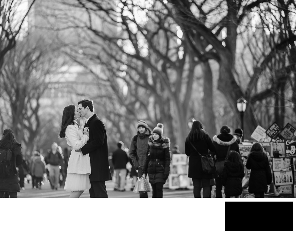 central park engagement photo