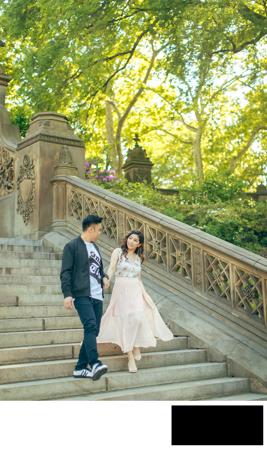 Engagement photo in Central Park by Sean Kim