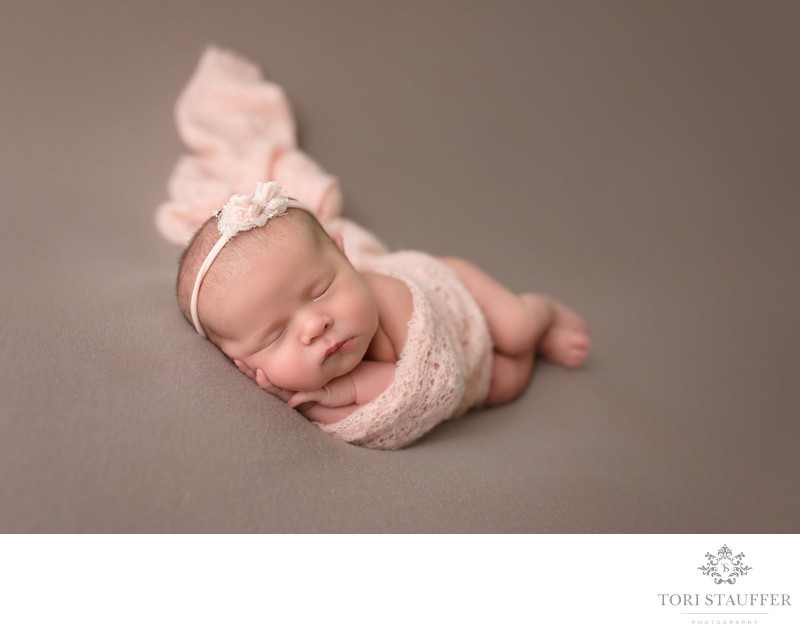 Newborn Photographer Near Me wrapped baby girl pictures