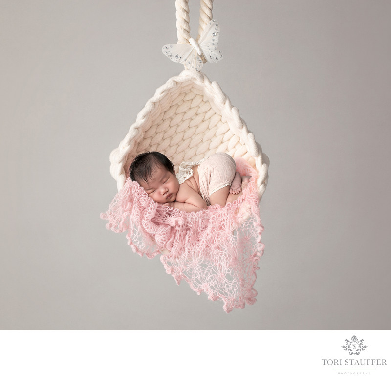 Newborn Photographers in Philadelphia Hanging Butterfly